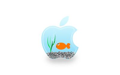 Aquarium Apple logo wallpaper
