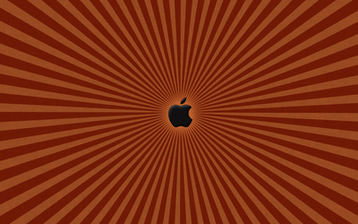 Black Apple on the orange lines wallpaper