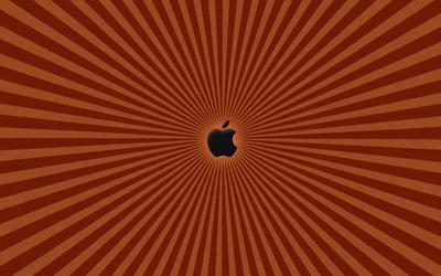Black Apple on the orange lines wallpaper