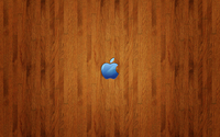 Blue Apple logo on wood wallpaper 2560x1600 jpg