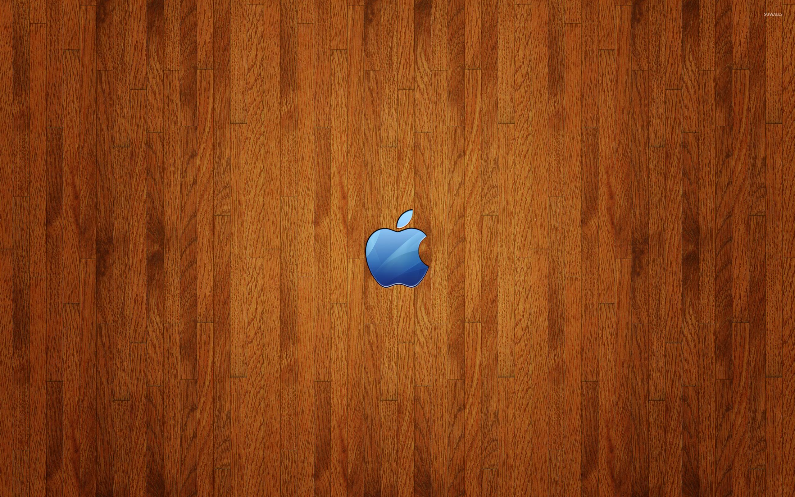 blue apple logo on wood wallpaper - computer wallpapers - #53940