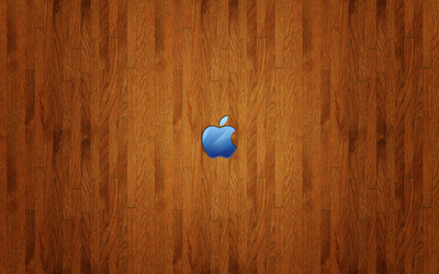 Blue Apple logo on wood wallpaper