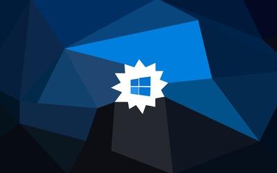 Blue Windows 10 on a white blossom wallpaper