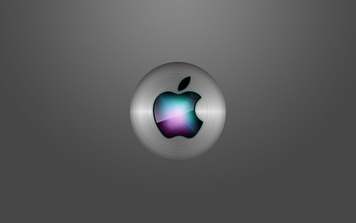 Colorful Apple on a gray background wallpaper