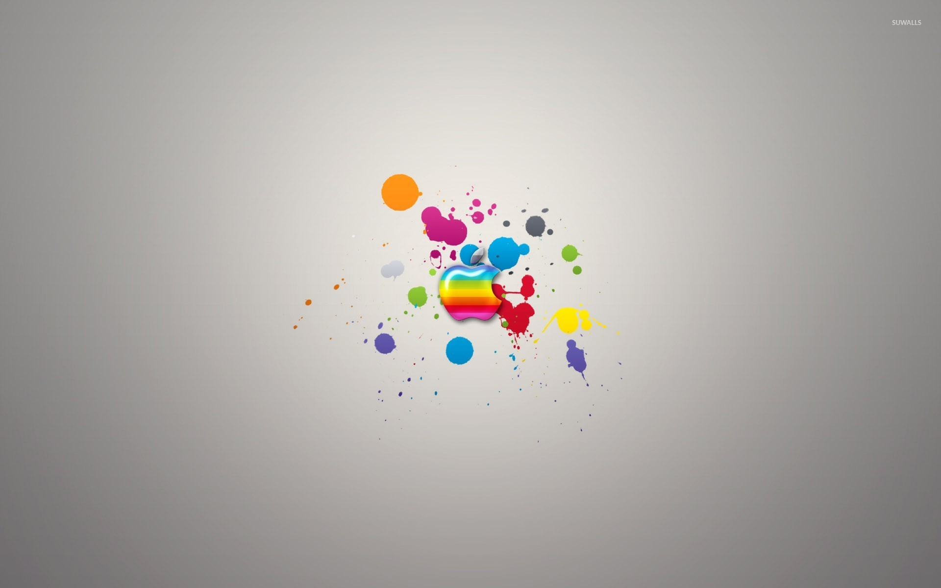Colorful Apple On Paint Splash Wallpaper