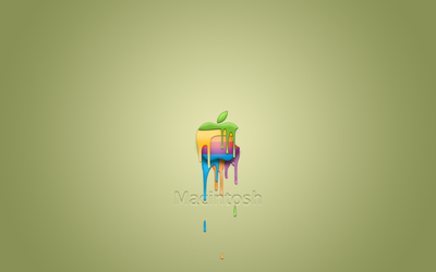 Colorful paint dripping from an Apple wallpaper