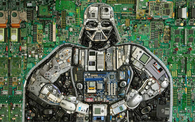 Darth Vader out of computer parts wallpaper