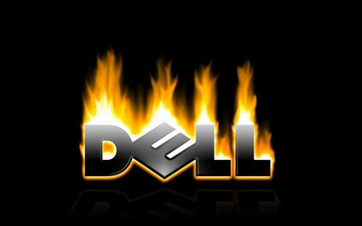 Flaming Dell logo wallpaper