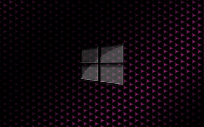 Glass Windows 10 on pink cube pattern wallpaper