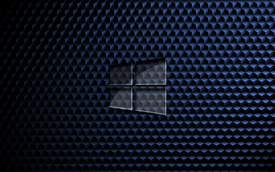 Glass Windows 10 on cube pattern wallpaper