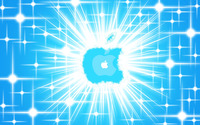 Glowing blue Apple logo wallpaper 2880x1800 jpg