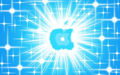 Glowing blue Apple logo wallpaper