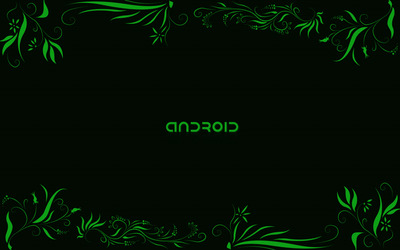 Green Android between green plants wallpaper