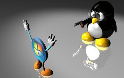 Linux vs. Windows wallpaper