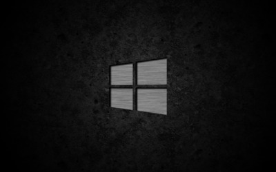 Metal Windows 10 on concrete wallpaper