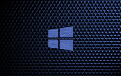 Metal Windows 10 on a blue cube pattern wallpaper