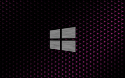 Metal Windows 10 on cube pattern wallpaper