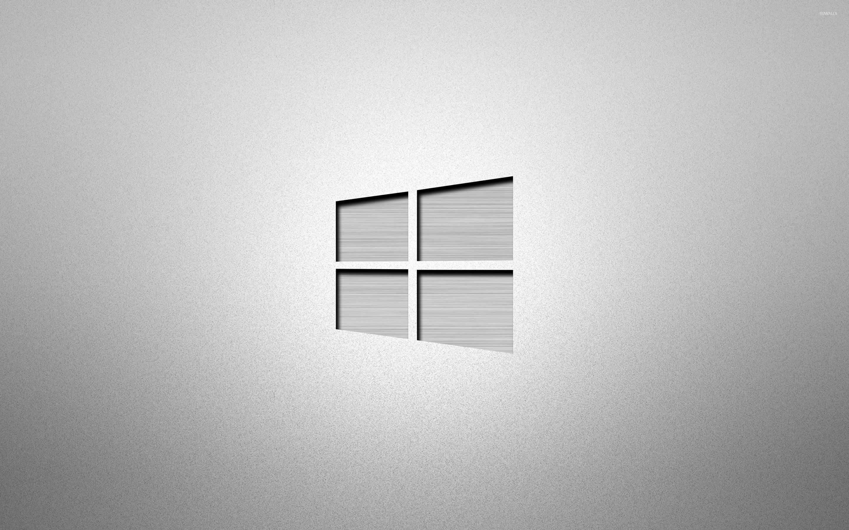Metal Windows 10 On Grainy Gray Wallpaper