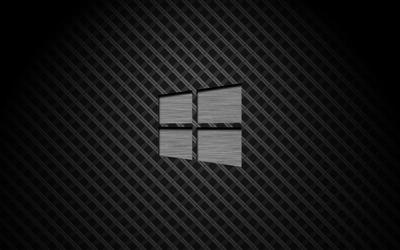 Metal Windows 10 on square pattern wallpaper