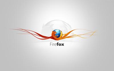 Mozilla Firefox on orange curves wallpaper