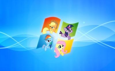 My Little Pony inside Windows wallpaper
