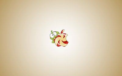 Om Nom eating Apple logo wallpaper