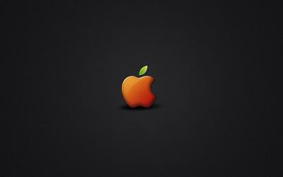 Orange Apple logo wallpaper