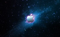 Pink glow surrounding Apple wallpaper 1920x1200 jpg