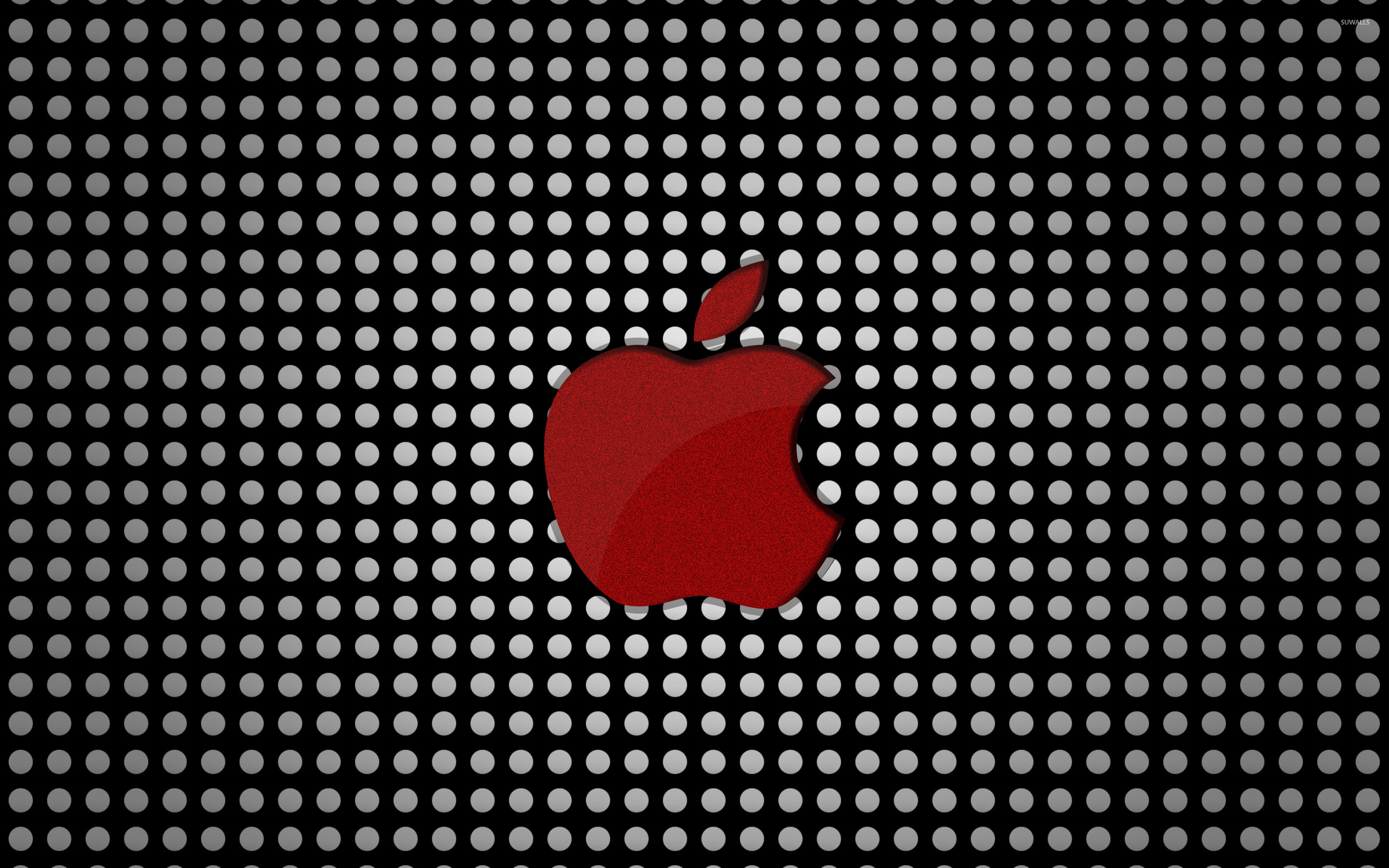 Red Apple logo on polka dots wallpaper - Computer ...