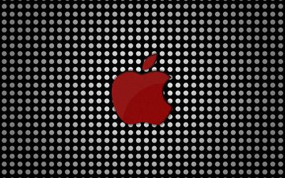 Red Apple logo on polka dots wallpaper
