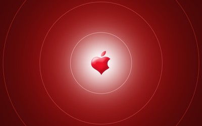 Red heart shaped Apple wallpaper