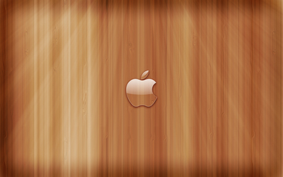 Transperent Apple on wooden panels wallpaper