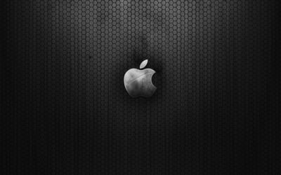 Vintage metal gray Apple wallpaper