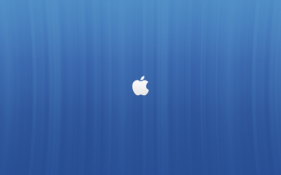 White Apple logo on blue lines wallpaper