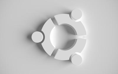 White Ubuntu logo wallpaper