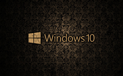 Windows 10 text logo on a cracked wall wallpaper