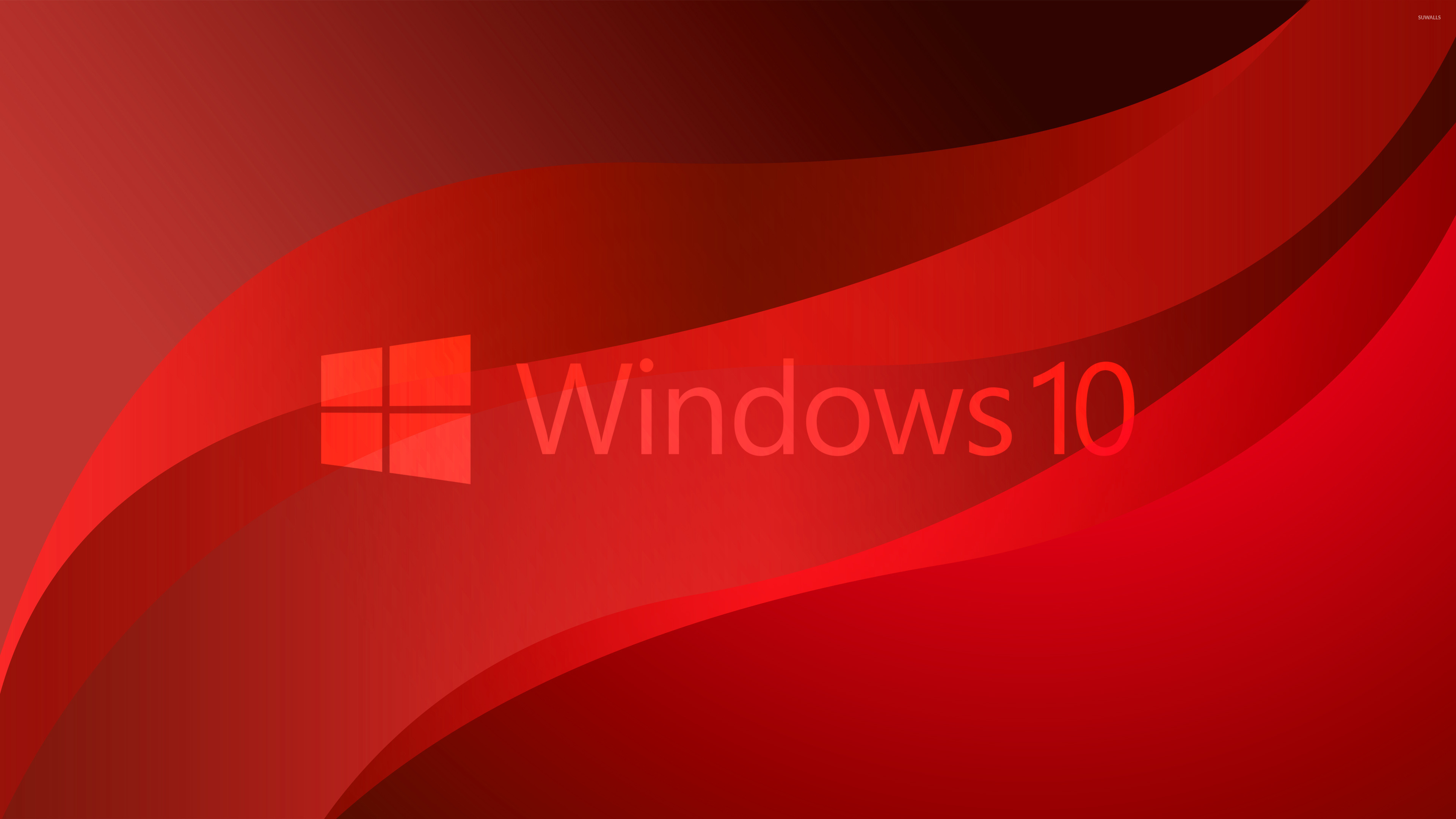 windows 10 transparent logo on red waves wallpaper