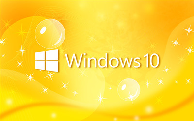 Windows 10 text logo on yellow curves wallpaper