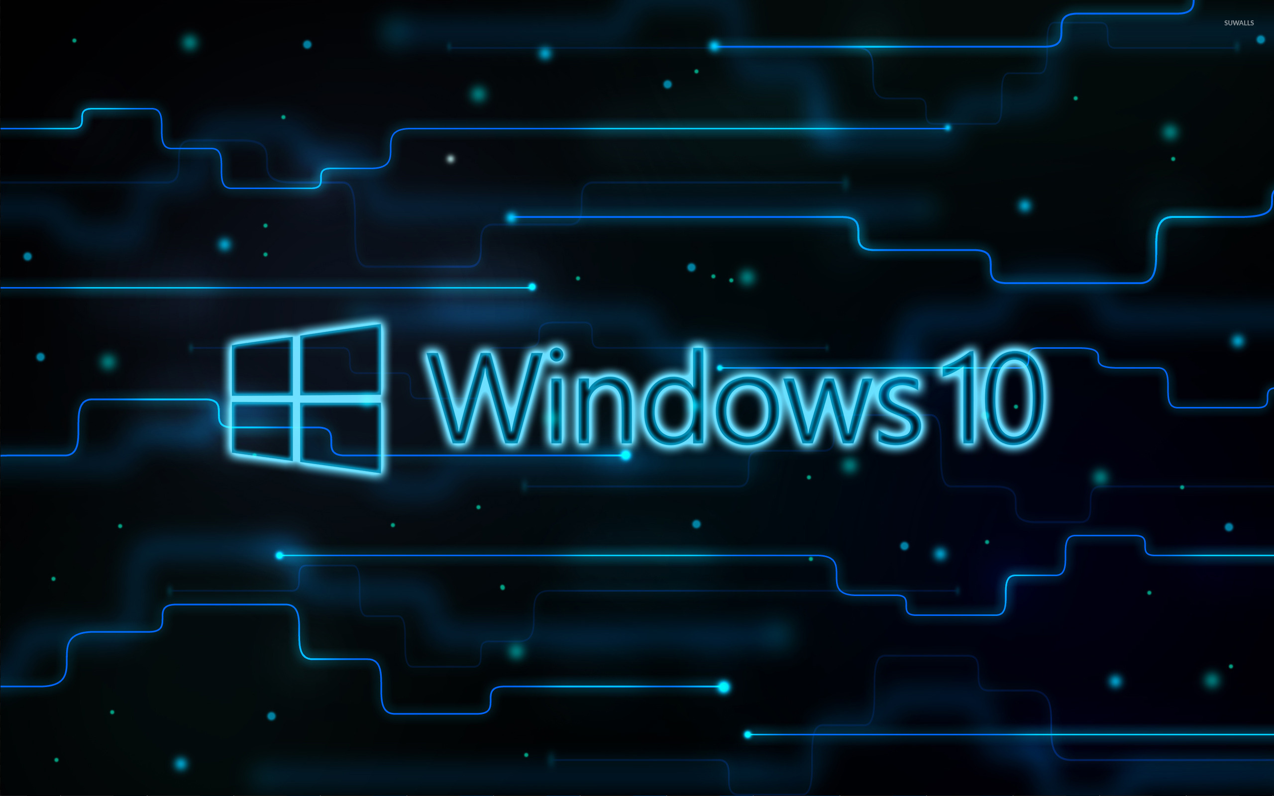 windows 10 glowing logo on a network wallpaper