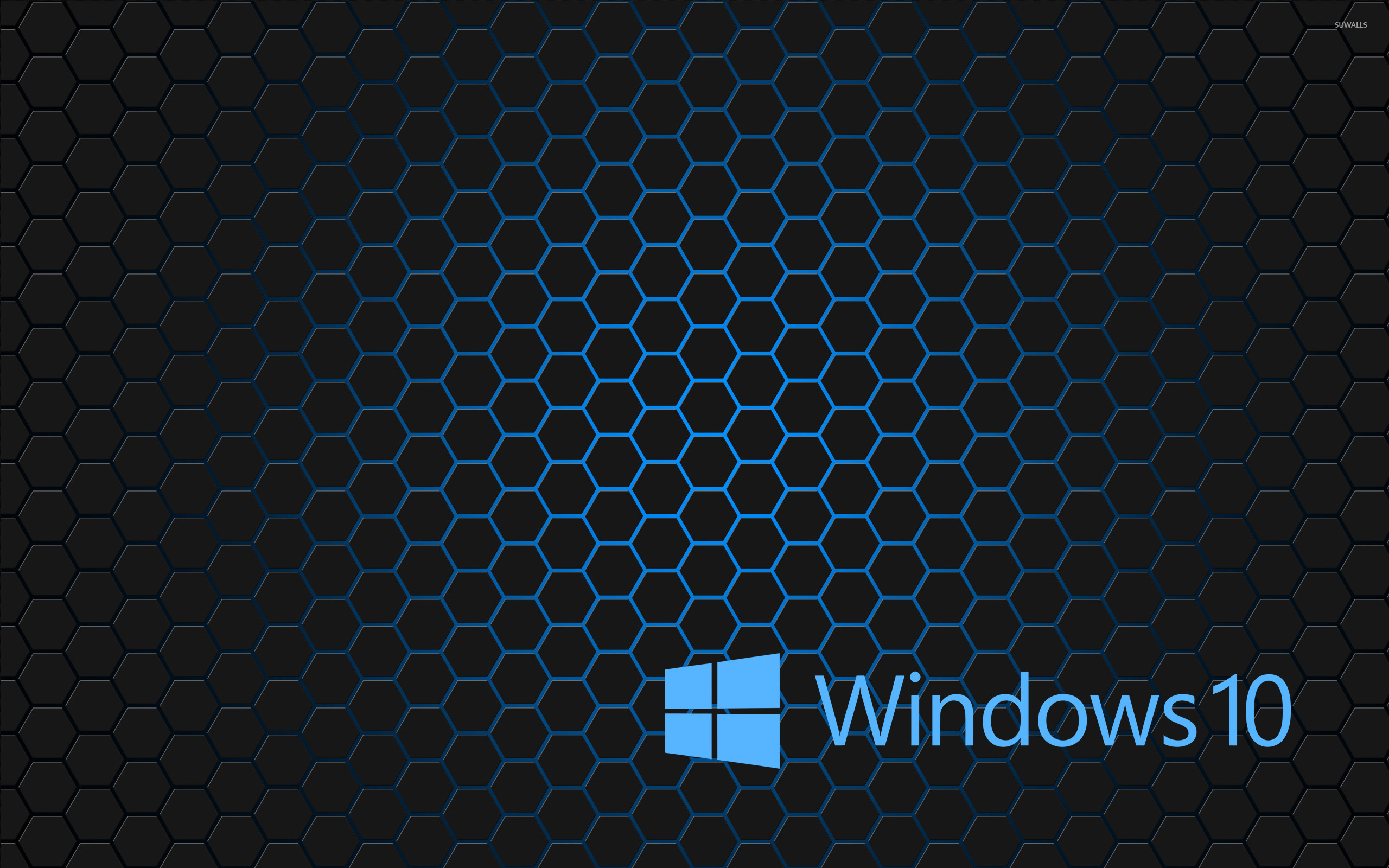 windows 10 blue text logo on hexagons wallpaper - computer
