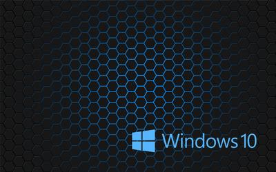 Windows 10 blue text logo on hexagons wallpaper