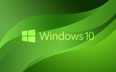 Windows 10 green text logo on green waves wallpaper