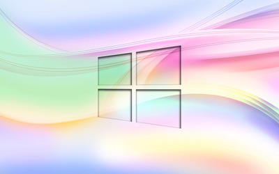 Windows 10 transparent logo on pastel waves wallpaper