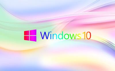 Colorful Windows 10 logo on pastel waves wallpaper