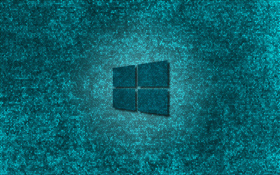 Windows 10 transparent logo on blue stained glass wallpaper