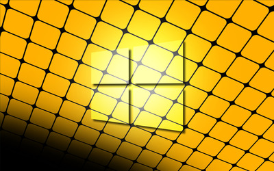 Windows 10 glass logo on a yellow grid wallpaper