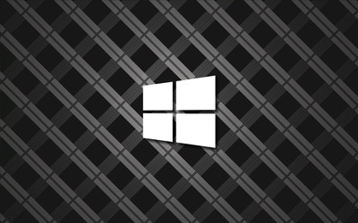 Windows 10 simple white logo on square pattern wallpaper