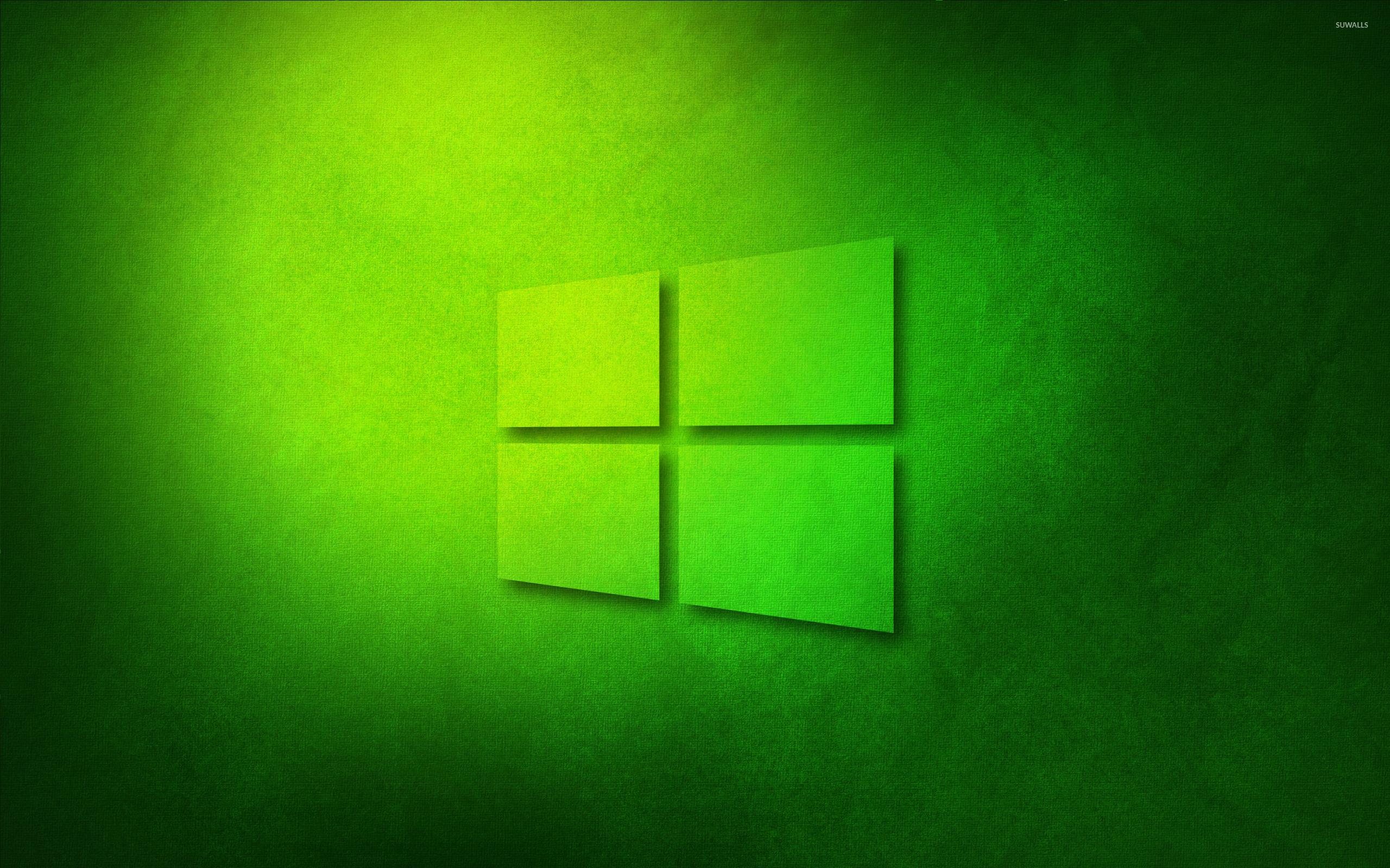 Windows 10 transparent logo on green paper wallpaper for Window 10 wallpaper