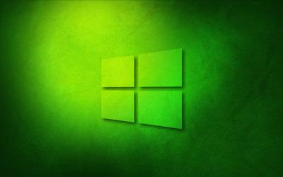 Windows 10 transparent logo on green paper wallpaper