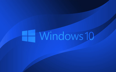 Windows 10 blue text logo on blue curves wallpaper